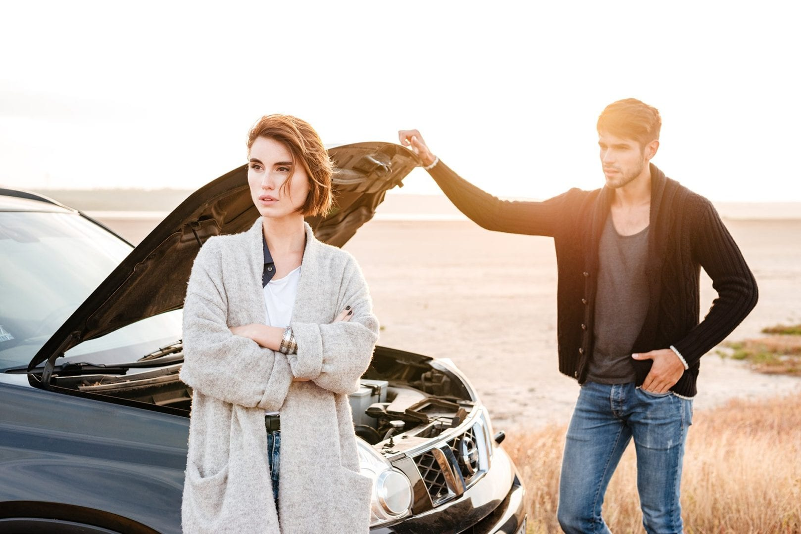 Picture of a couple with a dead battery - Auto Repair Service in Bedford PA